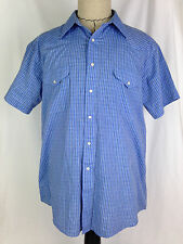 Panhandle Slim Shirt Western Mens 17 Size Blue Pearl Snap Cowboy Rodeo Texas