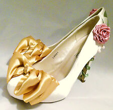 Ivory Satin Bridal Shoes Fairytale Princess Belle Beauty and the Beast Rose
