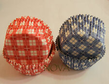 100 RED & blue plaid  Cupcake liners baking paper cup muffin case 50x33