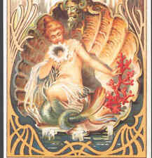 DOUBLE TAILED MERMAID SENDS SIRENS CALL,SHELL ART NOUVEAU REPRO POSTCARD,CARD