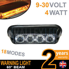 4 LED Warning Beacon Amber Module Recovery Strobe 12v or 24v HGV Van Hazard