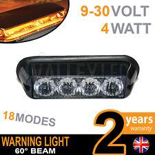 4 LED Warning Beacon Amber Module Recovery Strobe 12v or 24v HGV Van Hazard