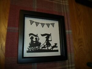 """8"""" Black Deep Box Frame With Handmade Die Cut Pictures (One Frame Only)"""