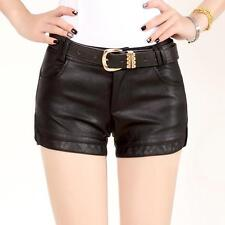 Womens Ladies PU Washed Leather Shorts Low Waist Straight Hot Shorts Pants Size