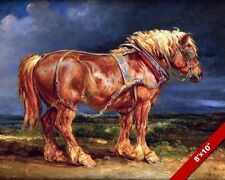 LOYAL WORKHORSE BELGIAN DRAFT HORSE OIL PAINTING ART REAL CANVAS GICLEE PRINT