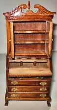 VINTAGE WALNUT CHIPENDALE SECRETARY #7713 DOLLHOUSE FURNITURE MINIATURES