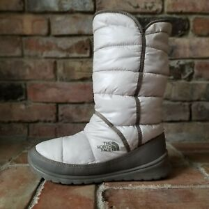 The North Face Thermoball Puffer Winter Snow White Gray Mid Calf Pull on Boots 9