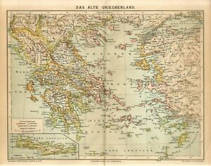 1882 ANCIENT GREECE CRETE RHODES LYDIA MACEDONIA Antique Map