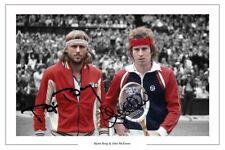 BJORN BORG & JOHN McENROE SIGNED PHOTO PRINT AUTOGRAPH WIMBLEDON TENNIS