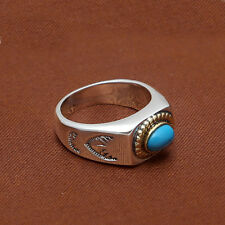 Solid 925 Sterling Thai Silver Ring Polish Turquoise Inlay Men Women Size 8 9 10