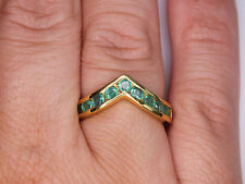Natural Zambian Emerald Wishbone Ring 14K Gold Overlay 925 1.00 Ct Taille N