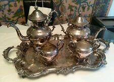 Birmingham Silver Company Vintage 5 Piece Silver on Copper Tea Coffee Set.