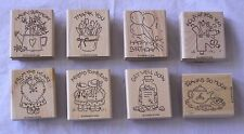 Stampin' Up! Set 8 Messages for Cards More Mounted Rubber Stamps NEW Never Used