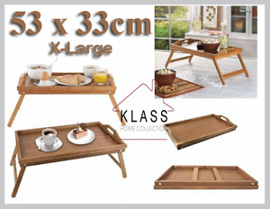 BAMBOO WOODEN BED BREAKFAST SERVING LAP TRAY WITH FOLDING LEGS NEW - EXTRA LARGE