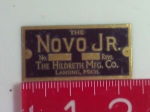 9/16 scale Novo Jr. Engine Brass Name Plate tag Nameplate