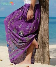 Handmade Embroidered Purple Long Maxi Hippie Boho Skirt Full Length Sequins
