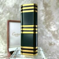 Rare Vintage Cartier Lighter Dark Green Lacquer 18K Gold Plated Stripes w/Box