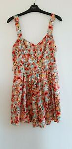 Gorgeous Pink & Green Floral Strappy Lined Dress by Apricot - Size 14 - Great!