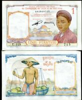FRENCH INDOCHINA LAOS 1 PIASTRE KIP MOT DONG ND 1953 P 92 AUNC