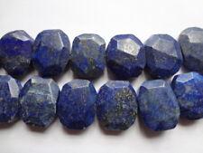 Large Irregular Faceted Nugget Genuine Lapis Lazuli Gemstone Beads - 4pcs