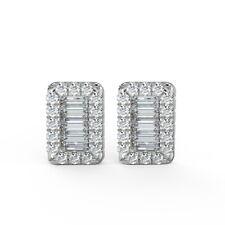 F/VS Round & Baguette Diamond Stud Earrings,18k White Gold UK Hallmarked