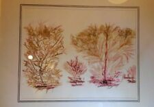 Vintage Framed Mixed Media Art - Red Coral Sea Fans - Treasures from the Sea