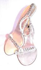"""BAKERS SILVER 4"""" STILETTO HEELS SEXY ANKLE STRAP PUMPS RHINESTONE SHOES SIZE 8.5"""