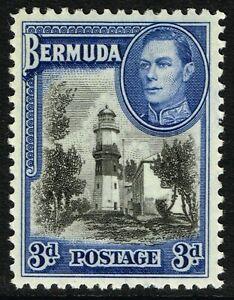 SG 114a BERMUDA 1941 - 3d BLACK & DEEP BLUE - MOUNTED MINT