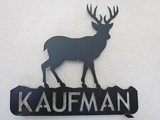 2 SIDE BUCK DEER MAILBOX TOPPER (YOUR NAME) STEEL TEXTURED BLACK POWDER COAT