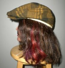 BROWN & YELLOW plaid vtg wool newsboy hat mustard gatsby 1970s funky ska cabbie