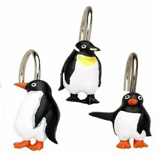 "Carnation Home ""Arctic Penguins"" Resin Shower Curtain Hooks"