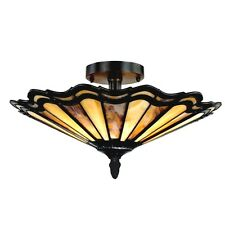 """16"""" Mission Tiffany Style Stained Glass Semi Flush Ceiling Light Fixture"""