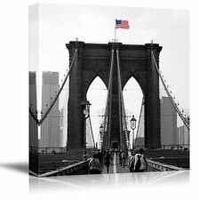Pop of Color on the USA Flag Above the Brooklyn Bridge - Canvas - 36x36 inches