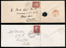 GB QV 1865-67 PENNY REDS SPILSBY DUPLEX on 2 ENVELOPES