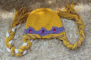 New Handmade Queen Elsa Princess Anna Knit Crochet Baby Hat Cap Photo Prop 0-5T