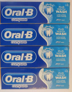 4 Tubes Oral B complete toothpaste plus Mouth Wash - 75ml Mint - Free Delivery
