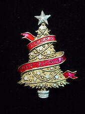 """JJ"" Jonette Jewelry Antique Gold Pewter 'Merry Christmas' Banner Tree Pin"