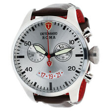 DETOMASO ROMA Mens Wrist Watch Chronograph Stainless Steel Silver Leather New