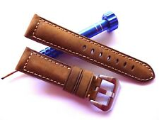 22mm Dark Brown Asso Band - Leather Watch Strap - Panerai Style