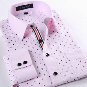 Mens Dress Shirts Long Sleeve Luxury Casual Slim Fit Business Work Camisas Shirt