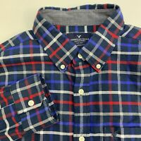American Eagle Button Up Shirt Mens Medium Blue Red Check Long Sleeve Casual