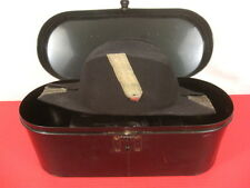 WWII US Navy USN Officer's Fore & Aft Cap in Japan Tin Metal Storage Box - NICE
