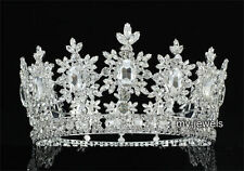 Men's Pageant Imperial Tiara Full Circel Round Silver King Crown T1827