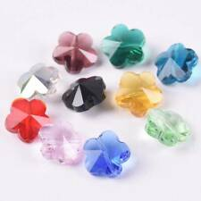 50pcs Mixed 14mm Flower Prism Crystal Glass Loose Beads lot for Jewelry Making