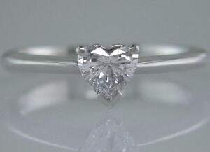 Diamond Solitaire Ring Certificated 0.50ct H VS2 VG Heart Shape 18ct White Gold