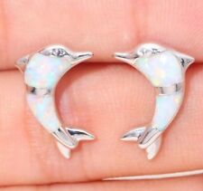Stunning White Fire Lab Opal Ocean Sea Dolphins Silver Tone Stud Earrings