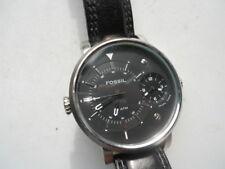 Fossil Dual Time men's black leather.quartz battery & water-resist watch.Fs-4244