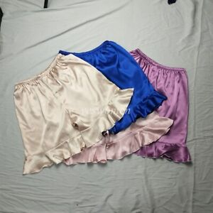 Women Anti-Static Satin Bloomer Pettipant Short Slip Pajama Ruffle Bottoms Sleep
