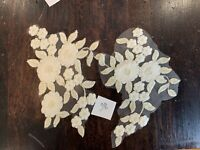 Cream and Antique Gold Floral Embroidered Tulle  Appliqué Lace Pieces Sew On 28
