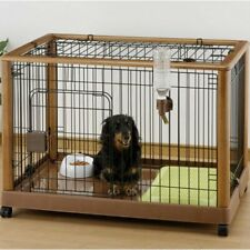"Richell Wooden Single-Door Dog Crate/Cage with Wheels, Medium, 36""L"